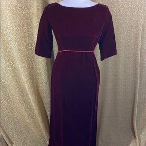 Vintage 70s red velvet gown